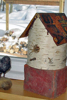 birch birdhouses, crafts, An old rusty hunting sign makes up the roof of this one