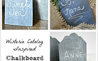 wisteria catalog inspired chalkboard place cards, chalkboard paint, crafts, home decor