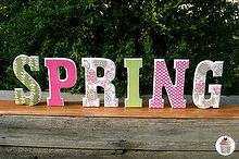 wooden spring letters covering with scrapbook paper, crafts, seasonal holiday decor