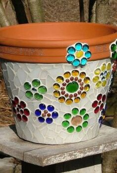 mosaic flower pot made from stained glass and glass beads, crafts, flowers, gardening