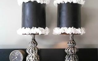 ruffle trimmed lamp shades with glam, crafts, home decor, DIY Ruffle Trimmed Lamp Shades on a pair of vintage glam style lamps