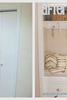 diy closet to entry bench, doors, foyer, home decor, Before After