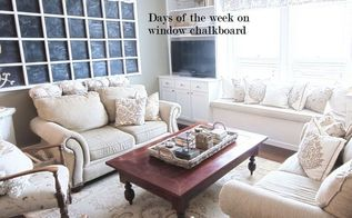 giant chalkboard from window, living room ideas, repurposing upcycling, Monthly Chalkboard Calendar