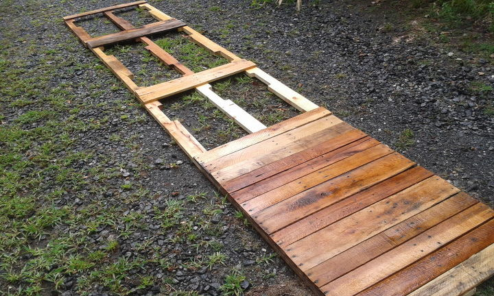 Expanding patio with repurposed pallets hometalk for Repurposed pallet projects