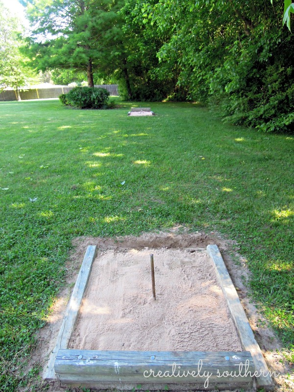 How to build a horseshoe pit hometalk for How to make a horseshoe