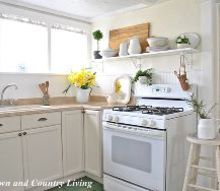 open shelving in the kitchen, home decor, kitchen design, shelving ideas, Plain pine boards from Lowe s were used for the shelves