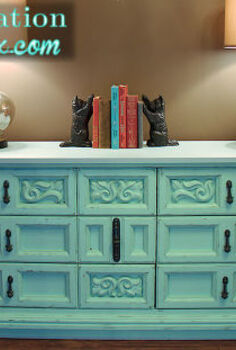aqua distressed chalkpainted dresser, chalk paint, painted furniture