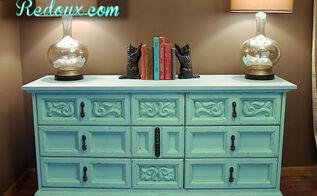 aqua distressed chalkpainted dresser, chalk paint, painted furniture