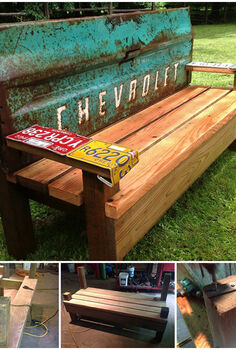 sunny days and repurposed benches, painted furniture, repurposing upcycling, shabby chic, Who wouldn t want to linger a little longer on an old Chevy tailgate