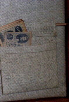 rustic wall organizer, home decor, organizing, Burlap pocket