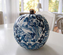 decoupage a pumpkin to coordinate with your decor or favorite fabric, crafts, decoupage, A blue white pumpkin for the guest room using the same pattern at the comforter pillows Tutorial can be found here