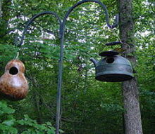 two more birdhouses in our back yard, crafts, repurposing upcycling, I sterilized the gourd and sprayed it with 3 coats of polyurethane to make it last a long time Get the tutorial at How To DIY Network How To Make A Gourd Birdhouse Next photos show you how I made the tea kettle house