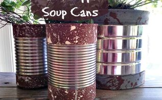 paint dipped soup cans, crafts, gardening, repurposing upcycling, I added the paint splatter texture which gives it a little bit of a retro feel