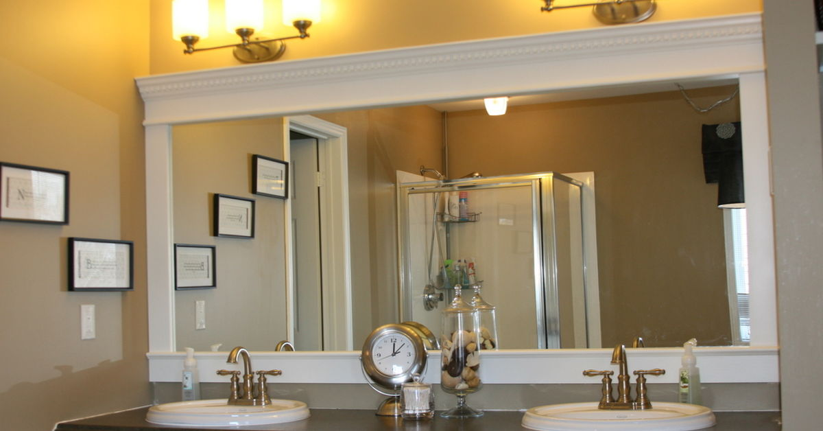 Bathroom Mirror Edge Repair how to upgrade your builder grade mirror - frame it! cost us