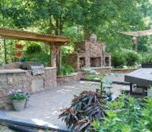 our new outdoor kitchen and fireplace, decks, fireplaces mantels, kitchen design, kitchen island, outdoor living
