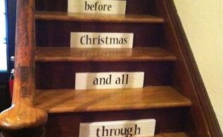 christmas stairs, christmas decorations, seasonal holiday decor, stairs, Made this out of wood painted it crackled and stenciled my grandsons were thrilled