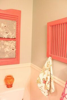 re purposing an old shutter with home made chalk paint, bathroom ideas, home decor, repurposing upcycling, Sonora rose from Lowe s summer palette It s a really pretty color