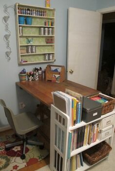 my thrifted craft room, chalk paint, craft rooms, home decor, I love the way this drafting table is perpendicular to the wall It helps to create a more definite crafting area back in this part fo the room since hubby needs the other part for work