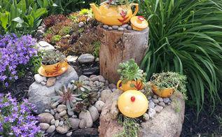 fabulous repurposed garden container ideas, container gardening, flowers, gardening, repurposing upcycling, succulents, Carol Ann s tea set planters