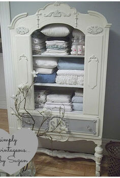 antique china cabinet to linen chest, chalk paint, kitchen cabinets, painted furniture, repurposing upcycling