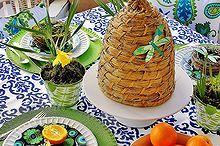 easter table decorating, easter decorations, seasonal holiday d cor, The table has an indoor outdoor tablecloth with a blue damask pattern Perfect for porch dining