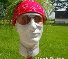 meet my new garden head butch, crafts, gardening, Here s my new friend Butch He s a styrofoam head that I bought at Hobby Lobby
