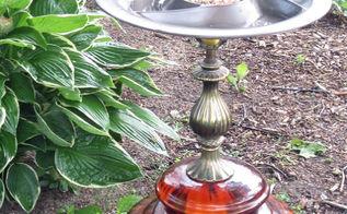 diy lamp birdbath feeder, gardening, repurposing upcycling, Close up of the lamp birdbath feeder