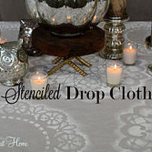 stenciled drop cloth, crafts, This stenciled drop cloth could easily be used for curtain panels or a shower curtain I m using it for a table cloth