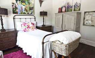 french grown up girls room, bedroom ideas, home decor, Antique iron bed with large colorful artwork pair with vintage French armoire to give the room an elegant yet homey feel