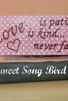love never fails block valentine s day decor, crafts, decoupage, seasonal holiday decor, valentines day ideas