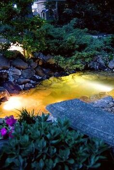 underwater lighting creates a nighttime oasis for water feature owners, landscape, lighting, outdoor living, ponds water features, For larger ponds we carry 3 watt and 6 watt lights That way you have no problem watching your fish at night