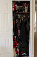 coat closet turned home office space, craft rooms, home decor, home office, organizing