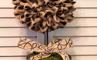 easy burlap topiary, crafts, home decor, Burlap Topiary