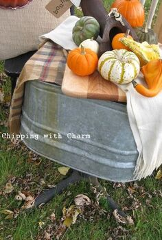 a junky fall vignette lots of re purposing fun, outdoor living, repurposing upcycling, seasonal holiday decor, I took it outside and arranged it on my wash tub turned outdoor table