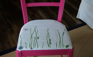 chair redo with re upholstery no sewing needed, painted furniture, reupholster, window treatments