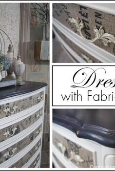dresser with fabric inlay, chalk paint, painted furniture, I transformed this dresser with chalk paint and fabric