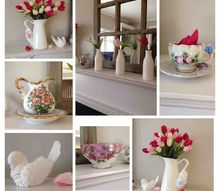 my valentine spring mantle, fireplaces mantels, seasonal holiday d cor, valentines day ideas, The white pitchers are from Ikea The little white vases are from Target 1 spot Flowers from Michaels The ceramic pitcher tiny teacup and saucer and birds were my Grandmothers The pink teacup I found at a antique shop