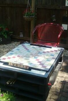 outdoor scrabbleboard, diy, outdoor living, woodworking projects, Scrabble board on my pallet table