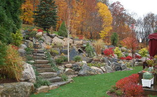 got hill no problem, outdoor living, patio, ponds water features, Fall picture