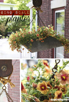 vintage hanging scale becomes a planter, flowers, gardening, repurposing upcycling, My new planter