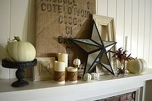 burlap iron white gold fall mantel, seasonal holiday d cor, Industrial cottage styled Fall mantel with iron burlap distressed white wood
