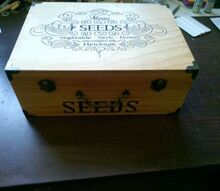 decorated wooden boxes, crafts, repurposing upcycling, Stenciled Seed Box