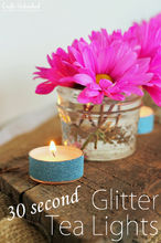 glittery tea lights craft, crafts, mason jars
