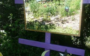 whimsical garden ideas, gardening, I use a lot of mirrors in my gardens They reflect the solar lights at night and the gardens by day I also silicone mirror pieces on my trees to create the same effect