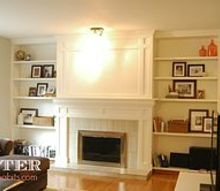 diy brick fireplace refacing, concrete masonry, concrete countertops, diy, fireplaces mantels, how to, living room ideas, AFTER We drywalled over the brick added custom woodwork a new mantel tile surround and crown molding