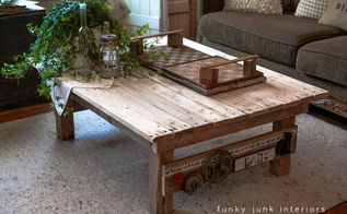 a junk styled pallet wood coffee table anyone can make, diy, painted furniture, pallet, woodworking projects, Pallet wood has never been so productive
