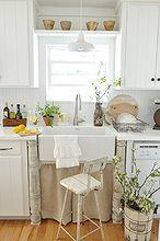 white countertops, countertops, home decor, kitchen design, kitchen island, Farmhouse kitchen with white painted countertops