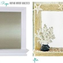 diy coastal rope mirror makeover, crafts, decoupage, Before it was a sweet and simple framed mirror after it has been transformed into this coastal rope mirror