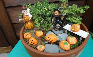 create a halloween miniature garden, crafts, gardening, halloween decorations, seasonal holiday decor, Place your miniature garden up high so it can be viewed with ease This one will go by my front door