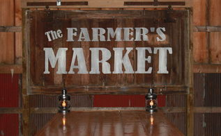 diy new life for an old barn door, doors, outdoor living, painting, repurposing upcycling, Our Farmers Market Sign made from an old barn door remnant